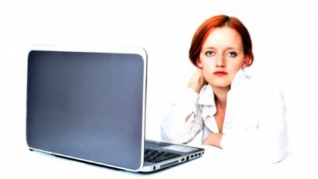 Image of woman and laptop - credit check