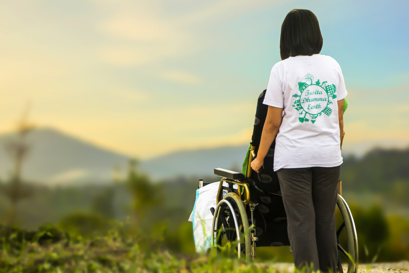 Image of a carer pushing a wheelchair.