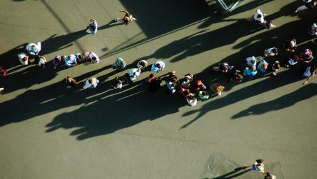 Image of people queuing